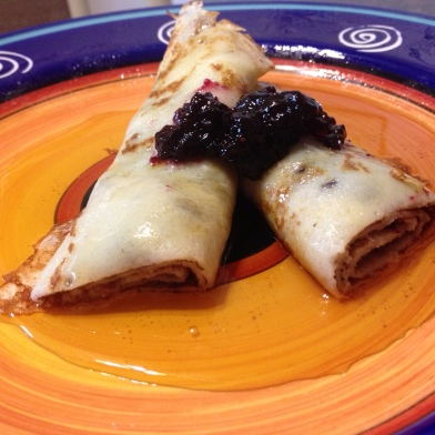 Blueberry Crepes with Pure Maple Syrup